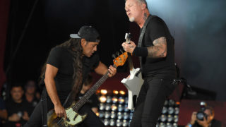 (FILES) This file photo taken on September 24, 2016 shows Kirk Hammett and James Hetfield of Metallica performing at the 2016 Global Citizen Festival in Central Park to end extreme poverty by 2030 at Central Park in New York. Chart-topping singer John Legend and metal legends Metallica will be among the performers at this year's Grammy Awards, the Recording Academy announced on January 18, 2017.The music industry's signature gala takes place in Los Angeles on February 12, with Beyonce leading nominations. Metallica, one of the most influential groups in heavy metal, in November released its first album in eight years which, like Legend's latest, came out too late for Grammy eligibility. / AFP PHOTO / ANGELA WEISS