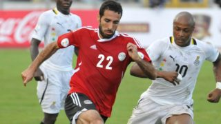 Egypt's Mohamed Aboutrika [in red jersey], one of the most successful African footballers of his generation, had publicly endorsed the presidential bid of the Muslim Brotherhood's Mohamed Morsi in 2012