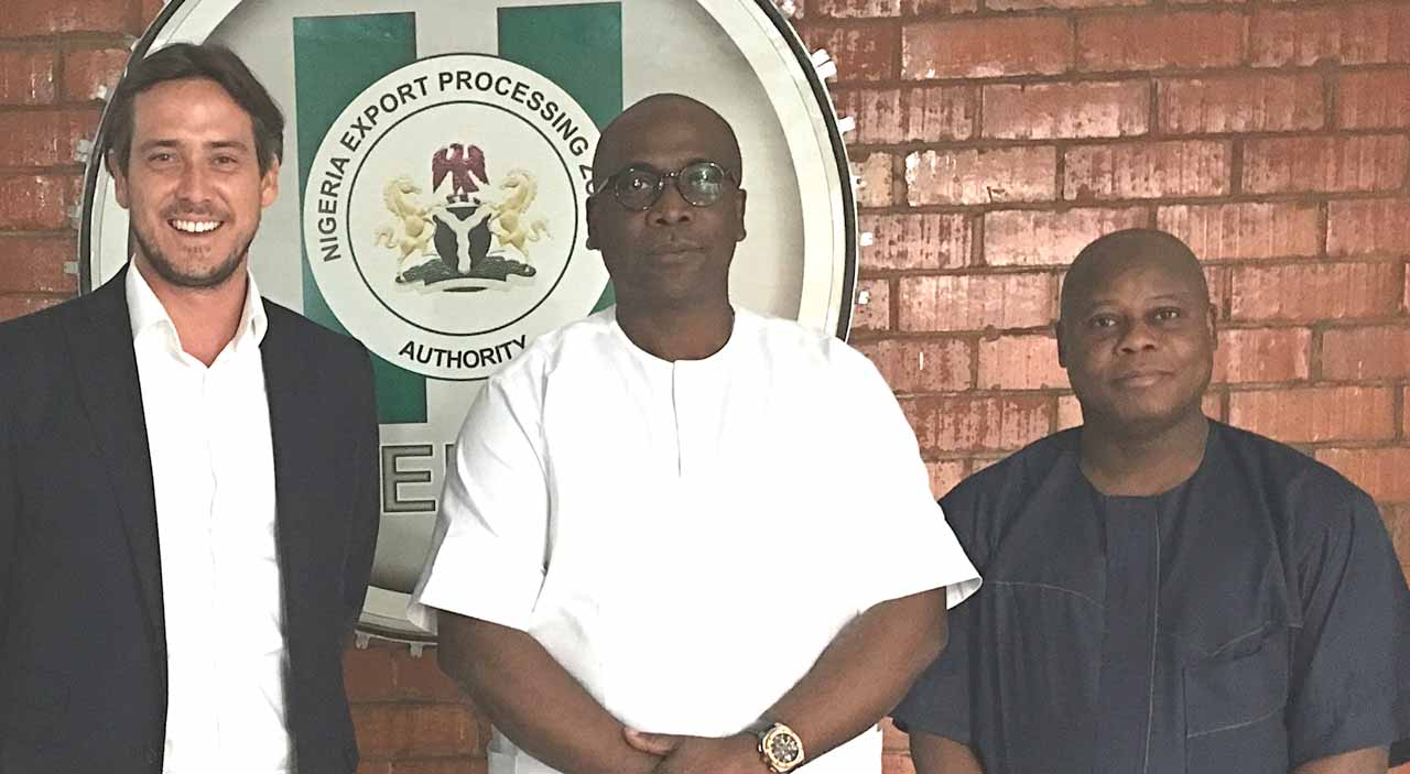 Project Director of Maritime Africa Economic City (MAEC), Patrick Bird (left); Managing Director, Nigeria Exports Processing Zones Authority (NEPZA), Gbenga Kuye; and the General Manager, Private Sector Zones of NEPZA, Oyesola Oyekunle, at the presentation of licence to the Maritime Africa Economic City in Abuja.