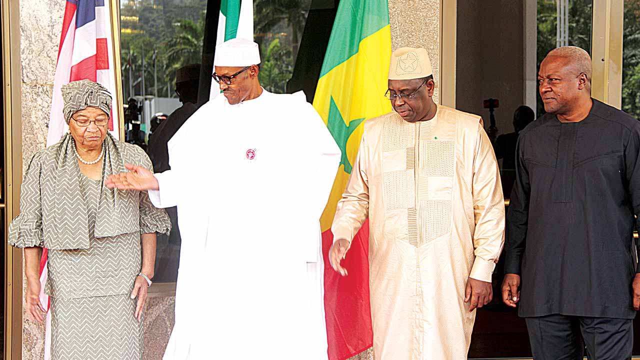 Liberia President Ellen Sirleaf Johnson (left), President Muhammadu Buhari, President Macky Sall of Senegal and former Ghanaian President John Mahama at the special ECOWAS summit on The Gambia at the State House, Abuja…yesterday      PHOTO: PHILIP OJISUA