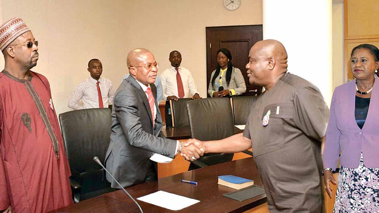 Assistant Director, Department of State Services, Haliru Allahnanan (left); Chairman of Nigeria Police Special Joint Investigation Panel on Rivers Rerun Election, Damian Okoro; Governor Nyesom Wike and his Deputy, Ipalibo Harry-Banigo, during members of the panel's visit to the governor in Port Harcourt… yesterday.