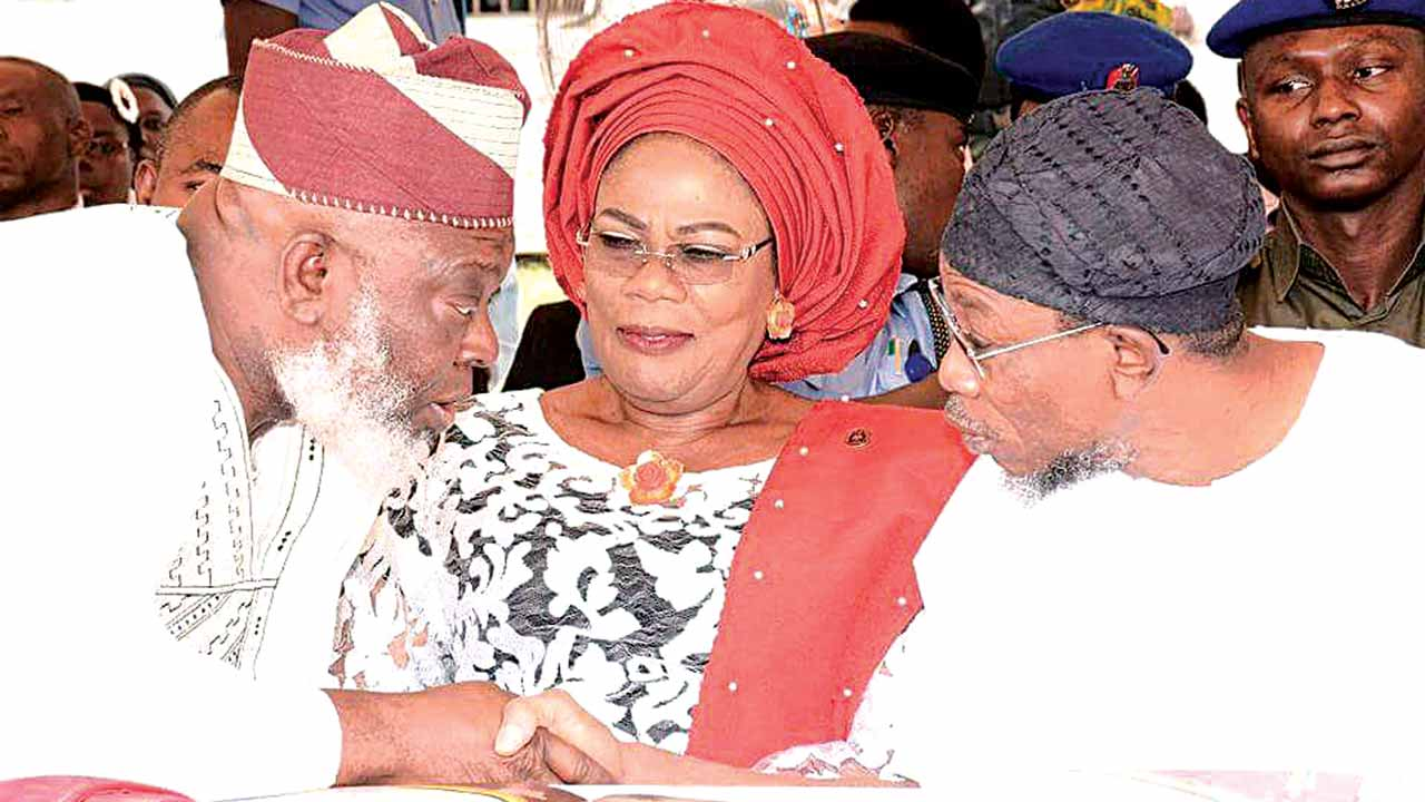 Osun State Governor, Rauf Aregbesola (right); his Deputy, Titilayo Laoye-Tomori andthe Deputy Speaker of the state House of Assembly, Akintunde Adegboye during an inter-religious service for the new year at the Governor's Office in Osogbo…yesterday.