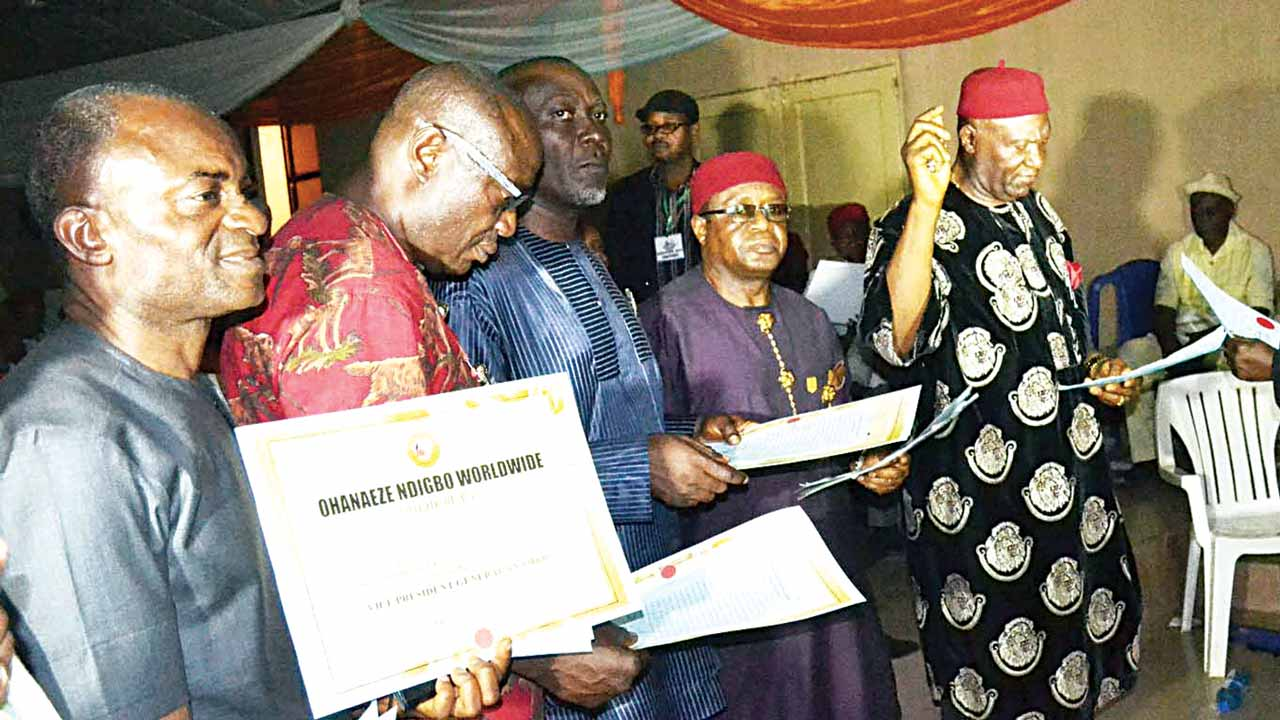 Newly elected officials of Ohanaeze Ndigbo World-wide taking oath of office after their election in Enugu.       PHOTO: NAN