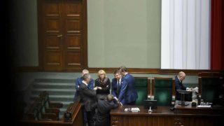 Liberal opposition (Civic Platform) lawmakers occupy the chamber of the lower house of the Polish parliament on January 11, 2017 in Warsaw amid a dispute with the governing right-wing Law and Justice (PiS) party that has paralysed the legislature since December 16. Poland's political parties said Tuesday they failed to reach agreement in talks on ending an unprecedented sit-in protest in parliament over a budget vote. JANEK SKARZYNSKI / AFP