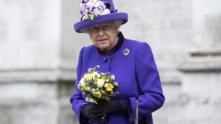 (FILES) This file photo taken on November 24, 2016 shows Britain's Queen Elizabeth II leaving Westminster Abbey in central London on November 24, 2016, after attending a Service of Thanksgiving to celebrate 60 years of The Duke of Edinburgh's Award. Queen Elizabeth II is to miss the Christmas Day church service attended by the British royal family as she continues to suffer from a heavy cold, Buckingham Palace said on December 25, 2016. The 90-year-old, who is the supreme governor of the Church of England, will join in the family festivities later in the day, a spokesman said.  Justin TALLIS / AFP