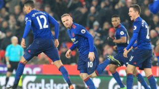 Manchester United's English striker Wayne Rooney (C) celebrates scoring his 250th goal to make him the club's all-time record goal scorerer in the English Premier League football match between Stoke City and Manchester United at the Bet365 Stadium in Stoke-on-Trent, central England on January 21, 2017.  Lindsey PARNABY / AFP