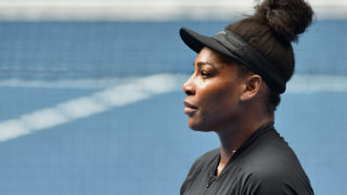 Serena Williams of the US attends a practice session ahead of the Australian Open tennis tournament in Melbourne on January 12, 2017. / AFP PHOTO / PAUL CROCK /