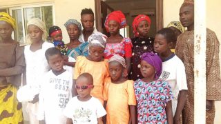Some of the 12 children 'stolen' from the Internally Displaced Persons (IDPs) camp in Taraba State, but rescued in Nasarawa by the State Police Command, after they were reunited  with their parents in Jalingo, Taraba State capital… yesterday