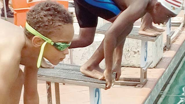 Set, go…primary school children competing in the second edition of Ikoyi Club 1938 inter-school swimming gala last weekend in Lagos. The event was sponsored by Zenith Bank. Photo: Gowon Akpodonor