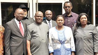 Managing Director, Independent Newspapers Limited, Ted Iwere (left); Governor Nyesom Wike of Rivers State; his deputy, Ipalibo Harry Banigo and Chief Marketing Officer of the newspaper, Theresa Taiwo and others, during the presentation of the nomination letter as Man-of-the-Year 2016 award to the governor at the Government House in Port Harcourt... at the weekend.