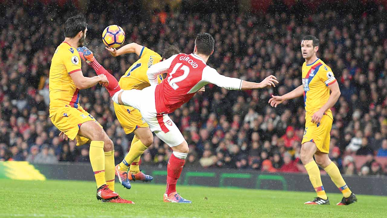 Giroud scored a wonder goal in a scorpion style that secured Arsenal a 2-0 win over Crystal Palace at the Emirate on New Year's day.