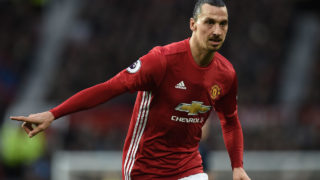 Manchester United's Swedish striker Zlatan Ibrahimovic gestures during the English Premier League football match between Manchester United and Middlesbrough at Old Trafford in Manchester, north west England, on December 31, 2016. / AFP PHOTO / Oli SCARFF /
