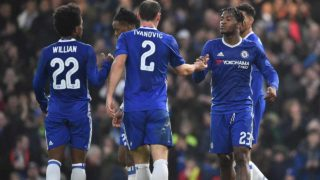 Chelsea's Belgian striker Michy Batshuayi (R) celebrates scoring their second goal during the English FA Cup third round football match between Chelsea and Peterborough at Stamford Bridge in London on January 8, 2017.  Glyn KIRK / AFP