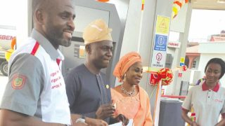 Chairman, Fatgbems Petroleum,Kabir Gbemisola (left); Lagos State Commissioner for Energy and Mineral Resources,Wale Oluwo and Gbemisola's wife, Ramota, at the unveiling of the fuel station… in Lagos