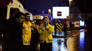 A first aid officer reacts at the site of an armed attack January 1, 2017 in Istanbul. At least two people were killed in an armed attack Saturday on an Istanbul nightclub where people were celebrating the New Year, Turkish television reports said. YASIN AKGUL / AFP