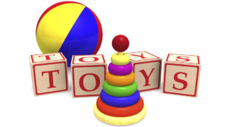 Rendering of simple children's toys. Wooden alphabet cubes spelling word toys, wooden pyramid puzzle and a colorful ball. PHOTO: MUSKOKA411