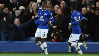 Everton's Ecuadorian striker Enner Valencia (L) celebrates scoring his team's first goal during the English Premier League football match between Everton and Southampton at Goodison Park in Liverpool, north west England on January 2, 2017.  Paul ELLIS / AFP