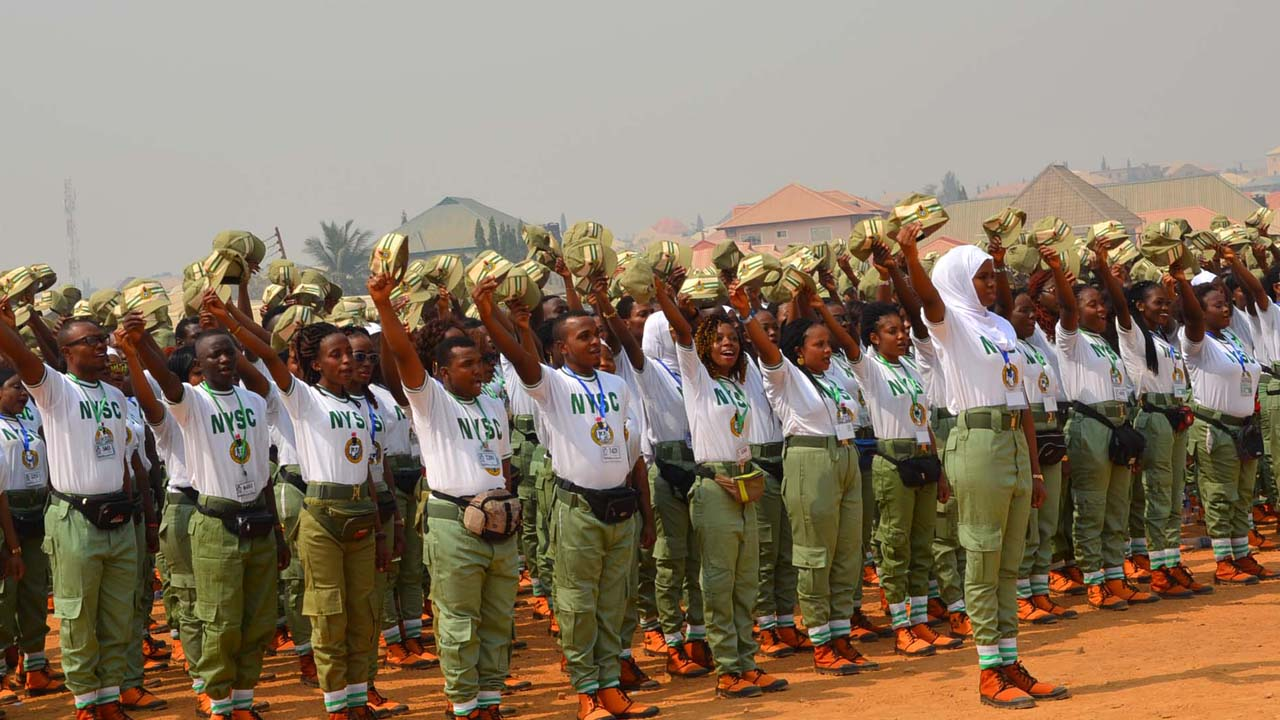 Members of the National Youth Service Corps (NYSC) 2016 Batch 'B' Stream 2 cheering during their swearing-in and opening of the Orientation Course at Kubwa in Abuja on January 26, 2017. PHOTO: NAN